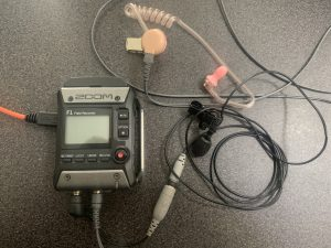 Zoom F1 Field Monitor, lapel mic and IFB earpiece