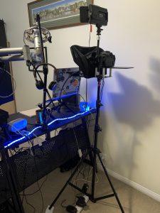 A teleprompter on a tripod
